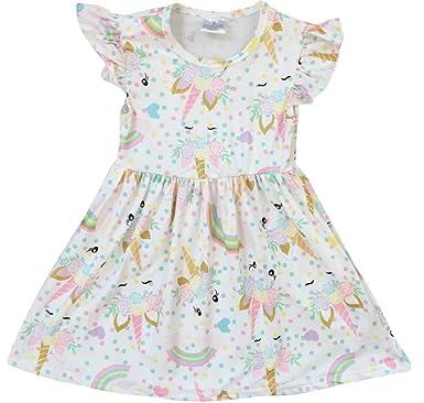 238026b708a8 Little Girl Dress Kids Unicorn Rainbow Easter Summer Flower Girl Dress Off  White 2T XS (