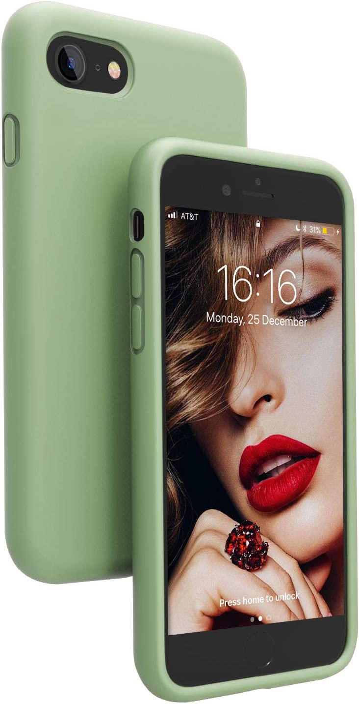 JASBON Compatible with iPhone SE 2020/iPhone 8/iPhone 7 Case,Soft Silicone Protective Colored Cover for iPhone SE2/8/7-4.7 inch (Matcha)