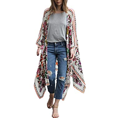 06ad24360ba NPRADLA Women Floral Print Chiffon Loose Shawl Kimono Cardigan Top Cover up  Shirt Blouse White