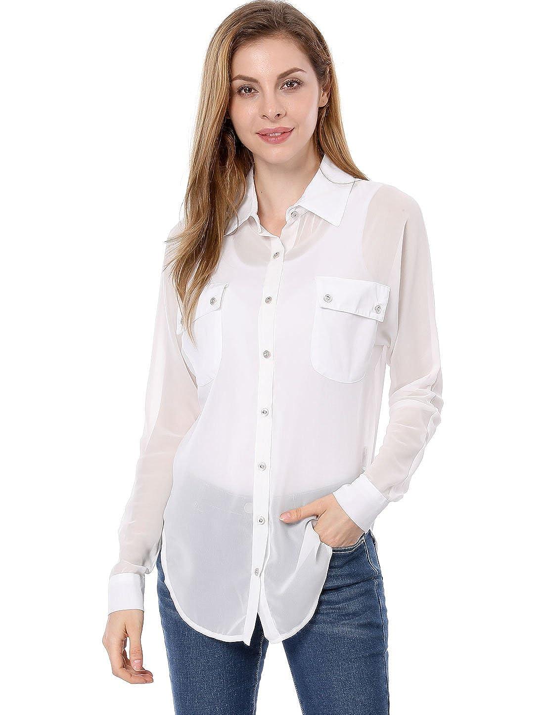 5f81a64f Allegra K Women's Dolman Sleeves Side-Slit Semi Sheer Chiffon Shirt at Amazon  Women's Clothing store: