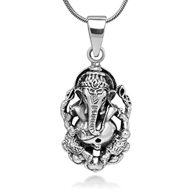 92990144d Amazon.com: Chuvora Sterling Silver Hindu Lord Ganesh Ganesha Elephant  Hindu God of Fortune 2D Pendant Necklace 18'': Jewelry