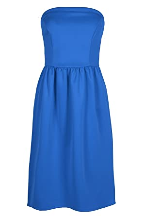 d98df5539e6 Be Jealous Womens Sleeveless Bandeau Boobtube Flared Midi Swing Skater Dress   Amazon.co.uk  Clothing