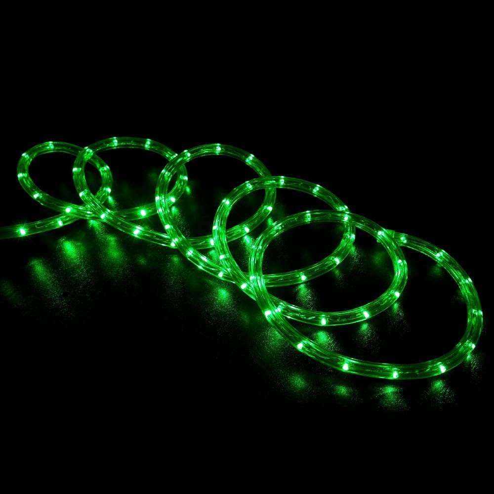 WYZworks 150' feet Green LED Rope Lights - Flexible 2 Wire Accent Holiday Christmas Party Decoration Lighting | ETL Certified