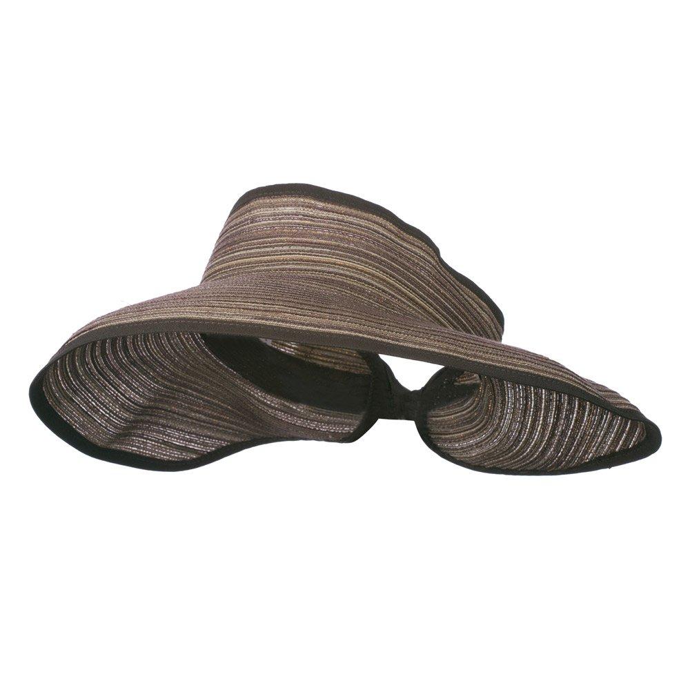 Jeanne Simmons UPF 40+ Metallic Blend Roll Up Visor - Brown Black OSFM by Jeanne Simmons