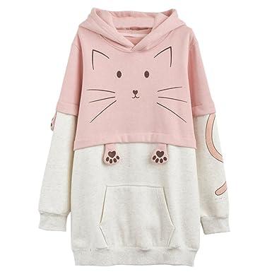 Kawaii Kitty Pink Polar Sudadera con Capucha Larga de algodón (S)