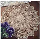 WSHINE Vintage Crochet Round Table Cover Lace Doilies Home Decor TableCloth (28.7'', beige)