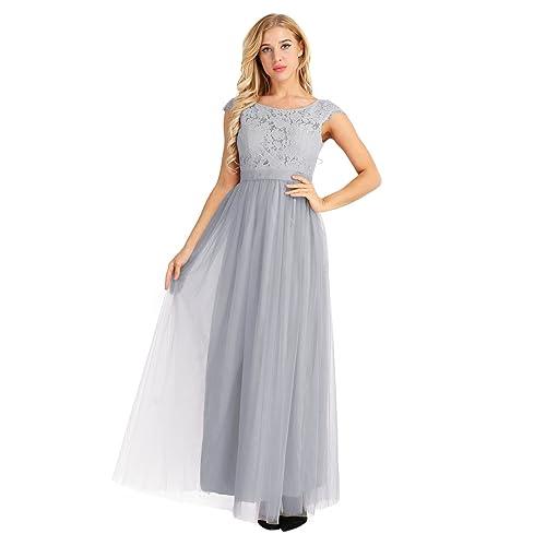 iEFiEL Women Floral Lace Open Back Tulle Bridesmaid Long Dresses Elegant Event Wear