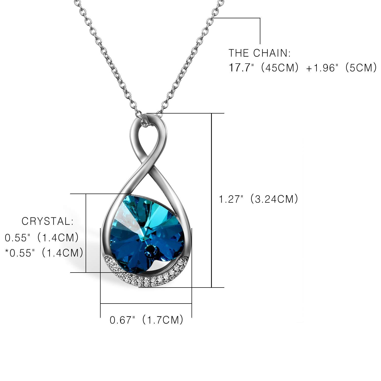 68d50b6ad67d Aroncent 1PCS Collar 2PCS Pendientes Swarovski Cristal Azul Juego de  Joyería Mujer Amor Infinito Plata de Ley Esterlina Aretes Largos de Perla  Circonita ...