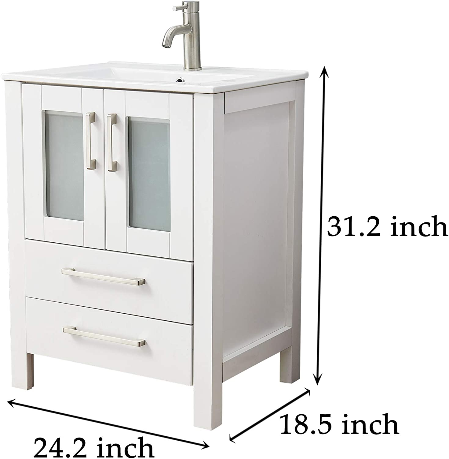 Stand Double Drawer Two Soft Closing Door Bath Vanity Cabinet Set With Brushed Nickel Handle With Ceramic Sink For Medium And Small Space Modern White 24 Inch Bathroom Vanity Combo Bathroom Fixtures Kitchen