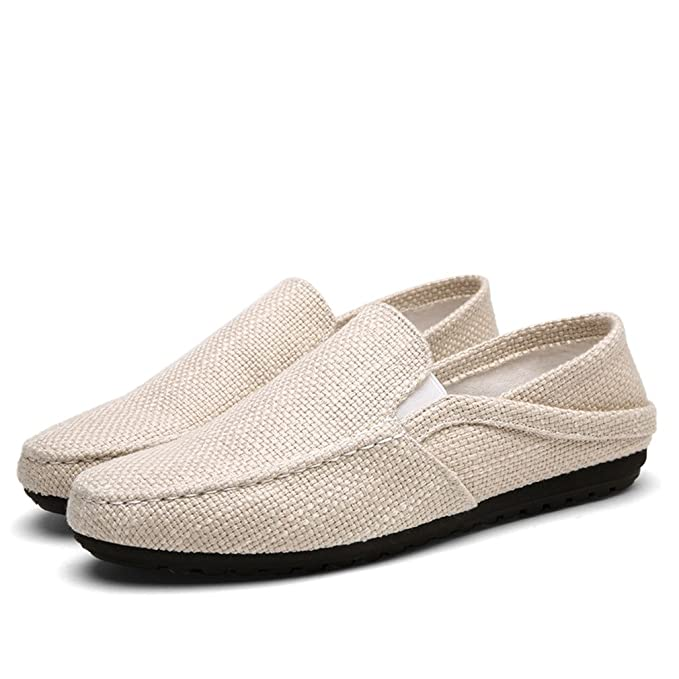 Summer Men Hemp Shoes Alpargatas Transpirable Casual Boat Shoes Hombre Mocasines Ultralight Lazy Shoes Beige Flats: Amazon.es: Ropa y accesorios
