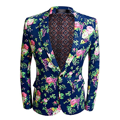 CARFFIV Mens Fashion Colorated Floral Print Suit Jacket Casual Blazer (Rose Flower, M/40R) -