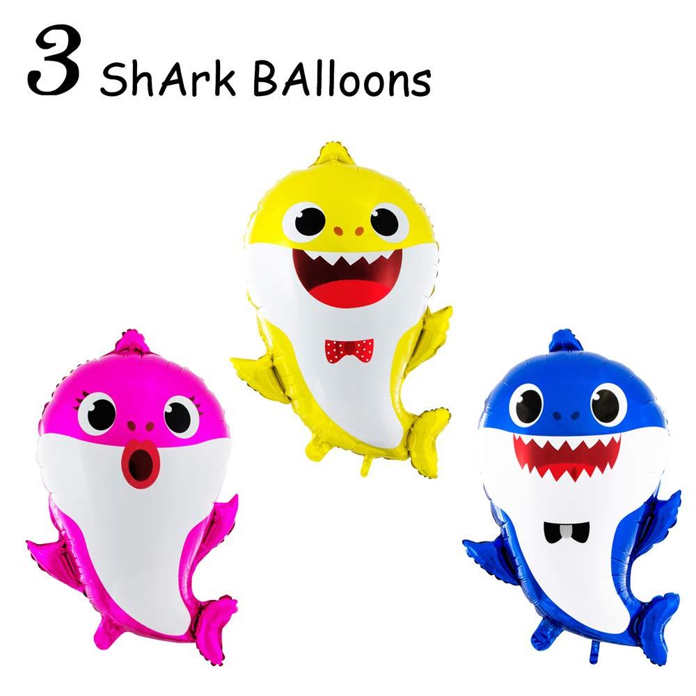 3 Baby Cute Shark Party Supplies Balloons Birthday Decorations Children Birthday Doo Doo Party Balloon Set 3 Pcs