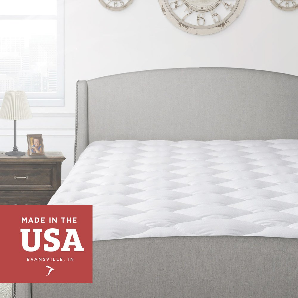 Thick Pillow Top Mattress Pad - Hypoallergenic Soft Quilted Cooling Mattress Topper Cover with Fitted Skirt and Plush Padded Down Alternative Fill - Luxury Comfort Breathable Cool Pads for Bed