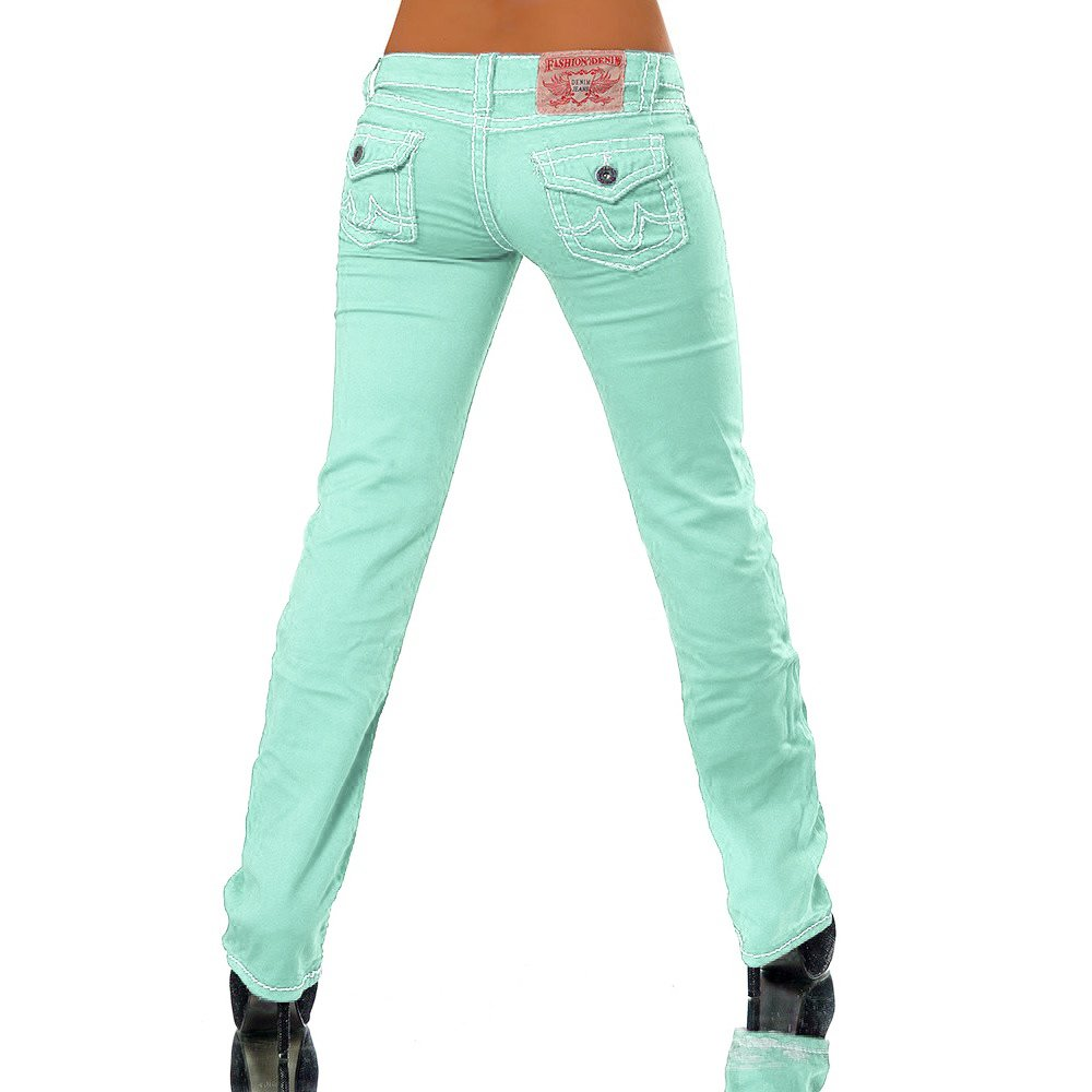 H922 Damen Bootcut Jeans Hose Damenjeans H/üftjeans Gerades Bein Dicke Naht N/ähte