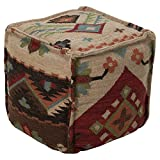 Surya 18 in. Southwest Cube Wool Pouf