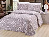 Purple and Cream Duvet Cover Bamboo Living Eco Friendly Egyptian Comfortable 3 Pieces Duvet Cover Set with 2 Pillow Shams, Taupe Paisley with White Base Pattern, Taupe and White Color, Queen Size