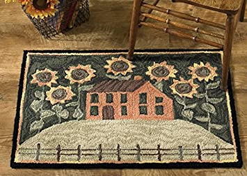 Amazon Com Park Designs House And Sunflowers Hooked Rug Furniture Decor