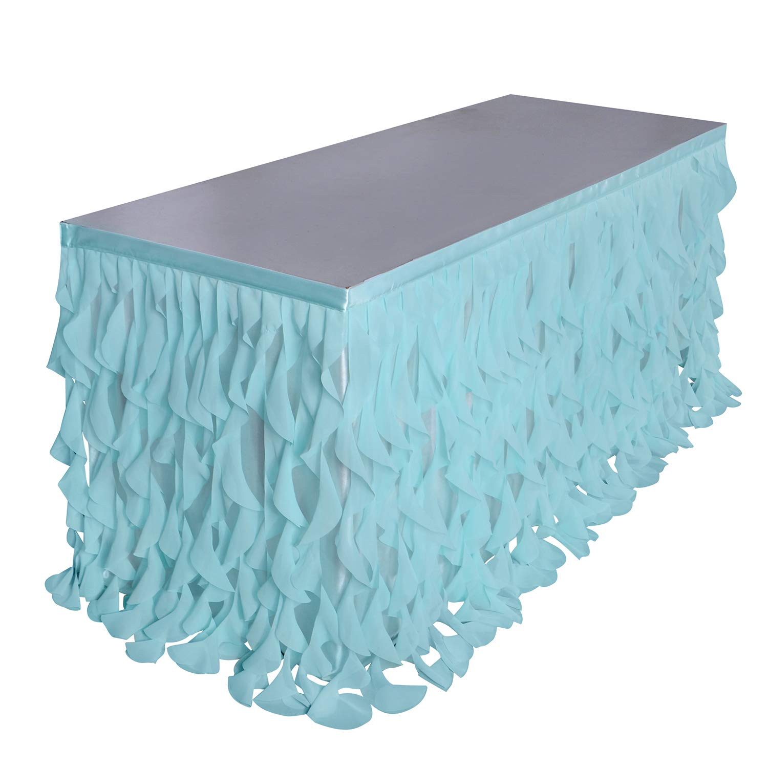 Leegleri 9ft Curly Willow Table Skirt Aqua Tulle Tutu Table Skirt Taffeta Table Skirt for Round Table or Rectangle Tables,Table Skirting for Weeding,Baby Shower Decoration