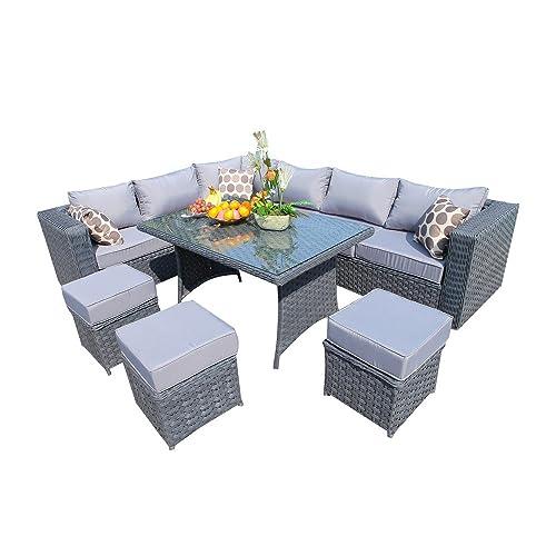 Corner Rattan Sofa The Range: Outdoor Dining Sets: Amazon.co.uk