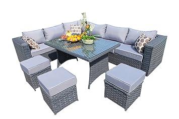 yakoe 9 seater papaver range rattan garden furniture corner sofa and dining set grey