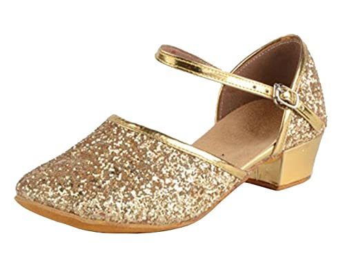 3ca4f847b missfiona Girls Glittering Performance Latin Ballroom Dance Shoes Wedding  Sandals with Closed-Toe(10