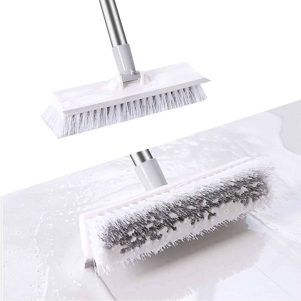 Floor Scrub Brushes for Cleaning Floors Adjustable Stainless Metal Long Handle, Scrubber with Stiff Bristles for Cleaning Tile, Bathroom, Tub, Bathtub and Patio