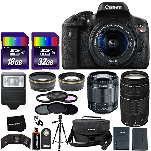 "Canon EOS Rebel T6i Digital SLR Camera International Version + 18-55mm ""STM"" Lens + 75-300mm III Zoom Lens + Telephoto & Wide Lenses + Canon Case + Flash + ND & UV Filter Set + 48GB SD Memory + Tripod For Sale"