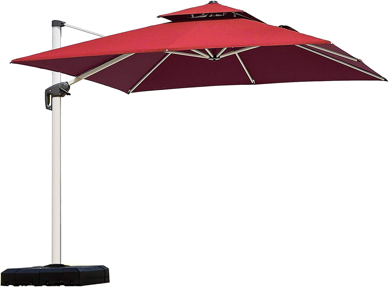 PURPLE LEAF 10ft Patio Umbrella Outdoor Square Umbrella Large Cantilever Umbrella Windproof Offset Umbrella Heavy Duty Sun Umbrella for Garden Deck Pool Patio Terra