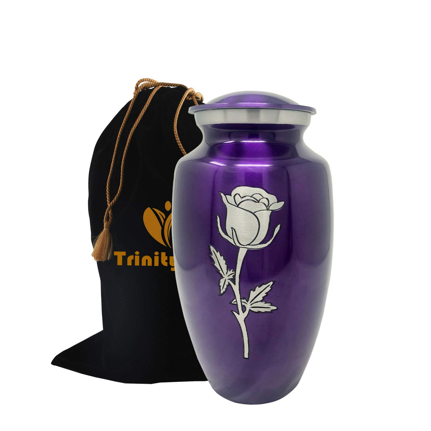 Eternal Rose Cremation Urn - Beautifully Handcrafted Adult Funeral Urn - Solid Metal Urn - Affordable Urn for Human Ashes with Free Velvet Bag (Purple) by Trinityurns