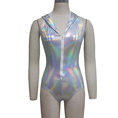 f0c3279fa49 pinda Summer Musical Festival Burning Man Rave Clothes Holographic Hooied  Hooded Bodysuit Romper 8074SR)