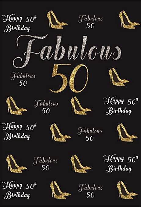 LFEEY 8x10ft Lady Mothers 50th Birthday Party Backdrop Customizable Women Fabulous Fifty Years Old Word Clouds