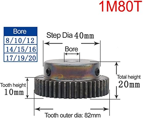 1 Mod 80T Spur Gear Steel Motor Pinion Gear Thickness 10mm Outer Dia 82mm x 1Pcs