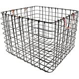Wire Large Straight Milk Crate - Antique Pewter with Copper Handle Wire basket Large storage baskets - Threshold
