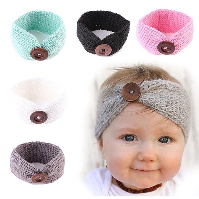 AOLVO bebé niños niña invierno cálido pelo banda para tejer cintas ...
