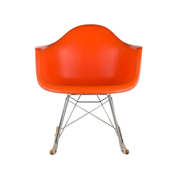 eames rocking chair cushion poly bark style orange upholstered replica amazon
