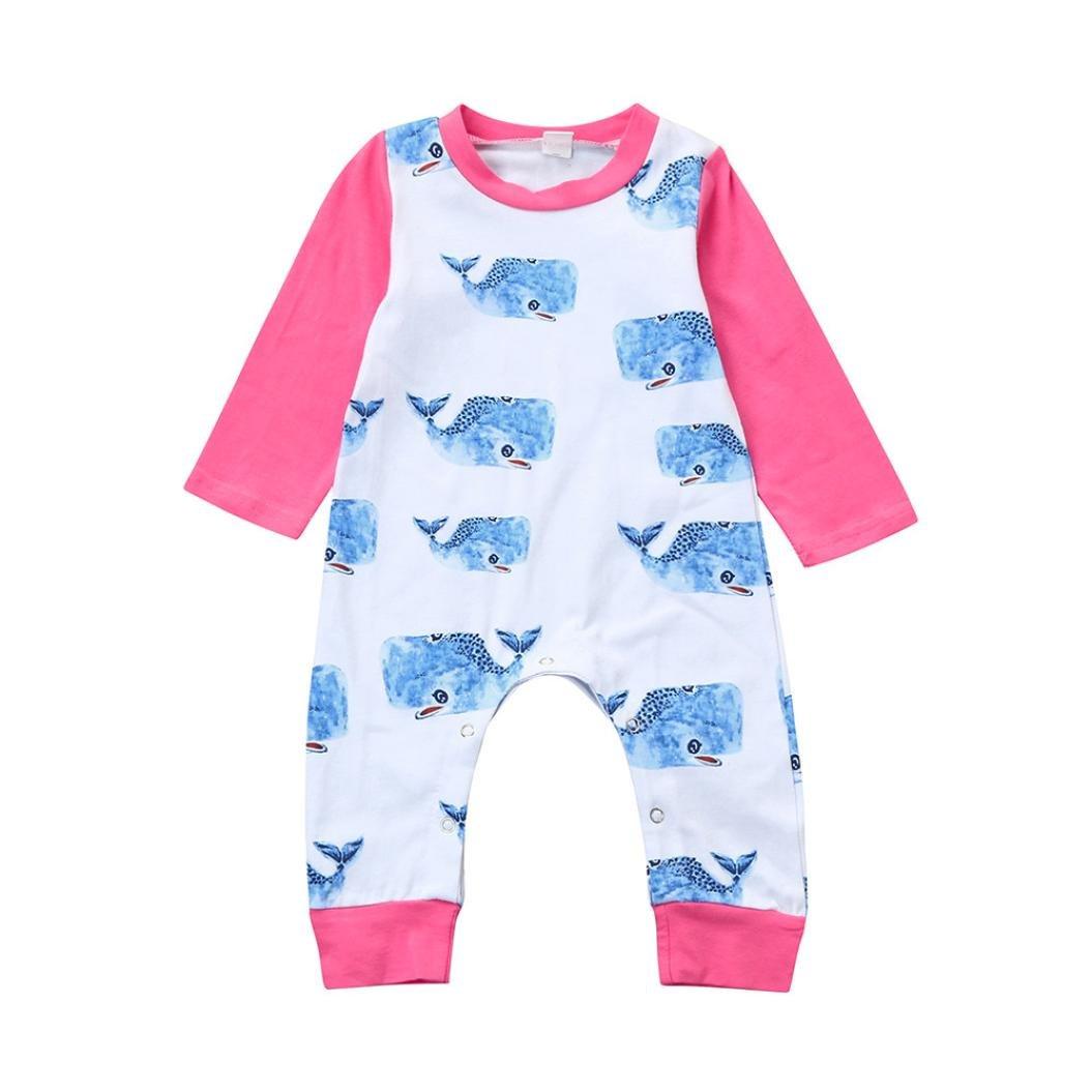 Memela TM Baby Girls Whale Print Rompers Long Sleeves Jumpsuit 0-18mos