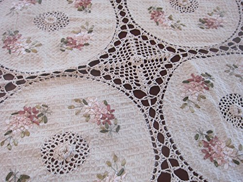 Handmade Tablecloth Silk Ribbon Embroidery Exquisite Crochet Panels Cotton Fabric Linens Vintage Wedding Tablecloths (60 Inch X 90 Inch OVAL)