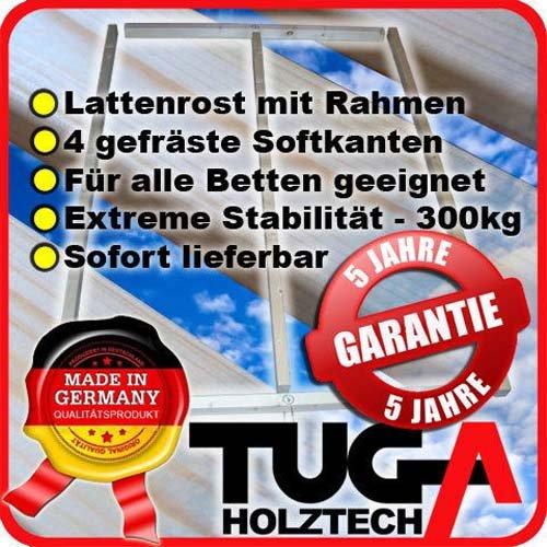 TUGA-Holztech Lattenrost 140x200cm 300Kg bestehend aus Rollrost und passendem Rahmen
