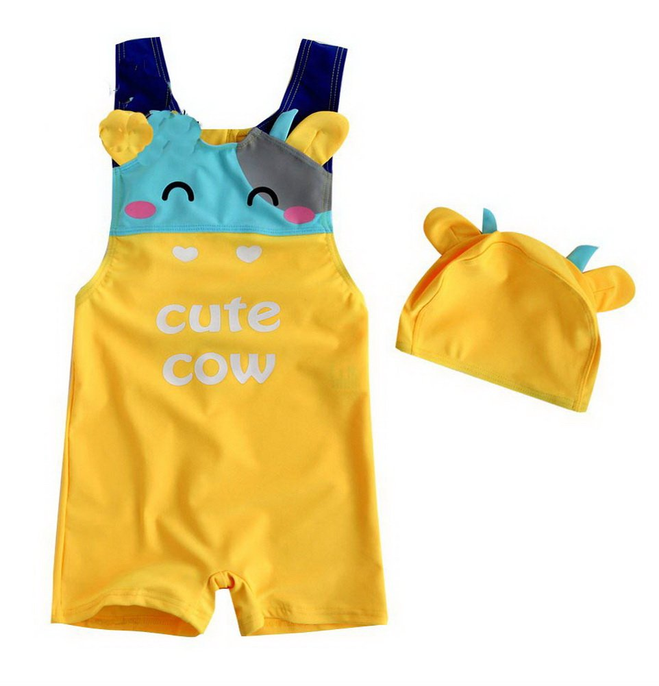 Cute Cow Boys Body Suits 2 Pcs Swimsuits, 5T, 3-4 Years Old Boy, Yellow