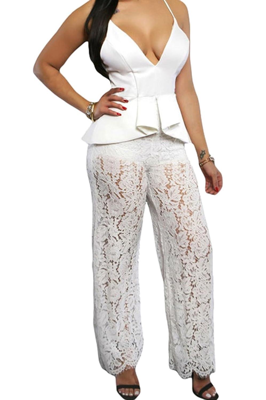 FQHOME Womens Spaghetti Straps Lace Peplum Jumpsuit