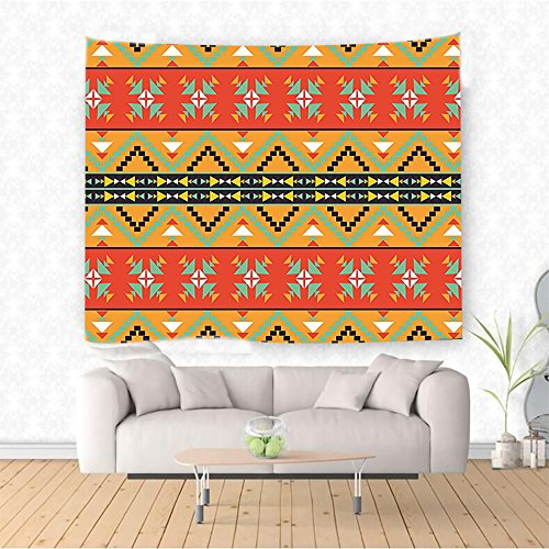 Nalahome Abstract Tribal Decor Aztec Motifs with Zigzags Geometric Design Pattern Orange Red and Fern Green Ethnic Decorative Tapestry Blanket Wall Art Design Handicrafts 10W x 8L Inches