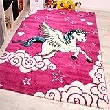 Tappeto Per Cameretta Il Piccolo Unicorno Alato Nei Colori Fuchsia Bianco Turchese, Dimensione:80x150 cm