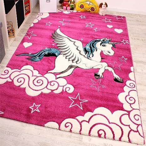 Kinderzimmer Teppich Fur Kinder Das Kleine Einhorn Pink Creme Turkis Grosse 160x230 Cm
