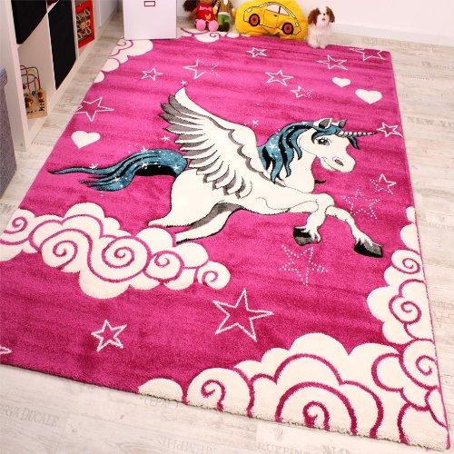 Chambre d'enfant Tapis Pour Enfant La Petite Licorne En Rose Crème Turquoise, Dimension:80x150 cm PHC