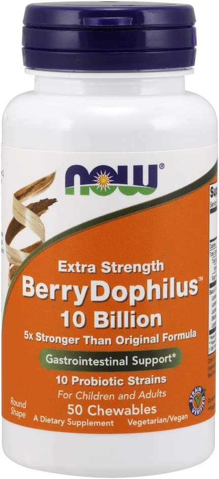 NOW Supplements, BerryDophilus, Developed for Adults & Children with 10 Probiotic Strains, Extra Strength,Strain Verified, 50 Chewables