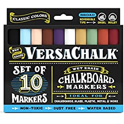 Chalkboard Chalk Markers Classic Colors (10-Pack) | Dust Free, Water-Based, Non-Toxic | Wet Erase Chalk Ink Pens