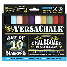 Chalkboard Chalk Markers by VersaChalk - Classic Colors (10-Pack) | Dust Free, Water-Based, Non-Toxic | Wet Erase Chalk Ink Pens