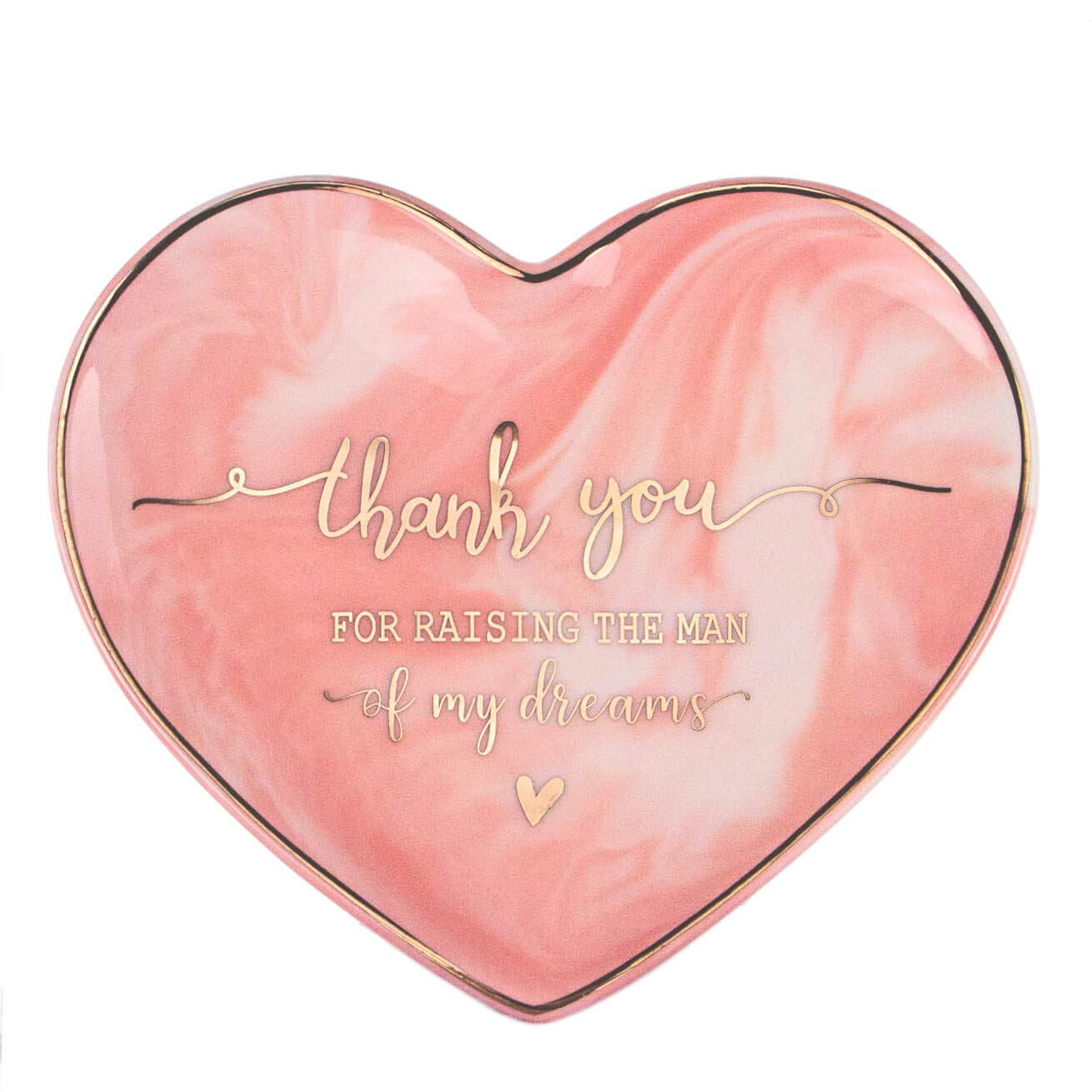 VILIGHT Mother in Law Gifts Thank You for Raising The Man of My Dreams - Pink Marble Heart Sharp Ceramic Ring Dish Jewelry Tray - 5.5''