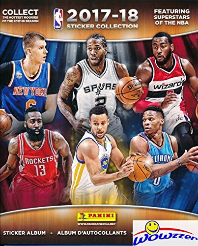(2017/18 Panini NBA Basketball HUGE 72 Page Stickers Collectors Album with 10 Bonus NBA Stickers including Russell Westbrook & Klay Thompson! Great Collectible to House all your NEW NBA Stickers!)