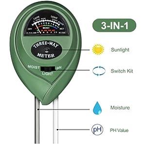 Medidor digital Rcyago 3 en 1 de la humedad del suelo y la acidez del PH